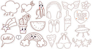 Set cartoon patch badges or fashion pin Stock Images