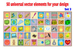 Set cartoon patches, stickers and badges. Objects in flat style. Collection universal elements for design  decoration Royalty Free Stock Photo