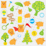 Set cartoon patches, stickers, badges. Piggybank and business objects in flat style. Collection of elements for design Royalty Free Stock Photo