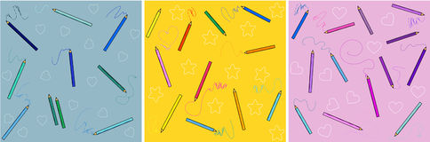 Set of cartoon patterns with pencils. Set of cartoon patterns with colored pencils stock illustration