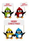 Set of cartoon penguins Stock Photos