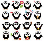 Set with cartoon penguins. Isolated on white background Royalty Free Stock Images