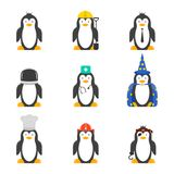Set of cartoon penguins with various professions. Vector drawing on white background.  Stock Images