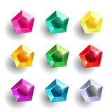 Set of cartoon pentagon different color crystals. Gemstones, gems,diamonds vector gui assets collection for game design isolated on white background. Gui Vector Illustration