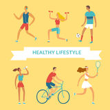Set of cartoon people doing sport exercises Royalty Free Stock Images