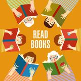 Set of cartoon  people reading books Royalty Free Stock Photography