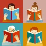 Set of cartoon  people reading books Stock Photography