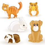 Set of cartoon pets Stock Images