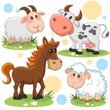 Animals part 12. Set of cartoon pictures with animals for children sheep, goat, cow and horse Royalty Free Stock Photo