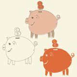 Set of cartoon pig money boxes Royalty Free Stock Photo