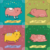 Set of cartoon pigs. Vintage greeting cards Royalty Free Stock Image
