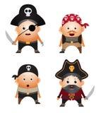 Set of cartoon pirates Stock Images