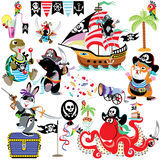 Set with cartoon pirates. Set with cartoon animals pirates, isolated images for little kids Royalty Free Stock Image
