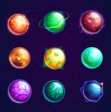 Set of  cartoon planets with satellites. Set of planets with satellites or cosmos universe spherical star objects,  cartoon astronomy objects with holes or Royalty Free Stock Image