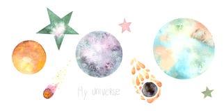 Set of cartoon planets and stars stock illustration