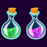 Set of Cartoon Potion Bottle. Glass flasks with colorful liquids isolated on a dark background. Royalty Free Stock Image