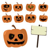 Set cartoon pumpkins for Halloween.  vector illustration