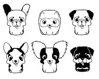 Set of cartoon puppies. Black and white vector illustration Stock Image