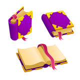 Set of cartoon purple book. From different angles.Isolated vector elements for game design Stock Photo