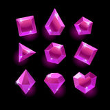 Set of cartoon purple,pink different shapes crystal. Gemstones,gems,diamonds vector gui assets collection for game design.isolated vector elements.Gui elements Stock Photos