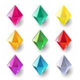 Set of cartoon pyramidal different color crystals. Gemstones, gems,diamonds vector gui assets collection for game design isolated on white background. Gui Vector Illustration