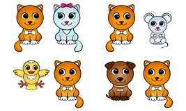 Set of cartoon red cat and other animals pairs royalty free illustration