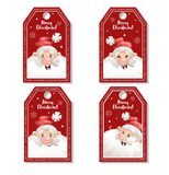 Set of cartoon red Christmas tag or label with laughing and smiling Santa Claus in hat. Xmas gift tag, invitation banner, sale Royalty Free Stock Image