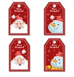 Set of cartoon red Christmas tag or label with laughing and smiling Santa Claus and snowmen. Xmas gift tag, invitation banner, sal Royalty Free Stock Photo