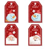 Set of cartoon red Christmas tag or label with laughing and smiling Santa Claus and snowmen. Xmas gift tag, invitation banner Stock Photography