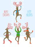 Set of cartoon reindeers. Christmas illustration with set of four cute dancing deers on snowflake background Royalty Free Stock Image