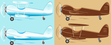 Set cartoon retro plane. Different color Royalty Free Stock Photo