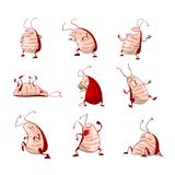Set of cartoon roaches. Collection of colorful vector cartoon cockroaches Royalty Free Stock Image