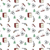 Set of cartoon robber, seamless background Royalty Free Stock Photography