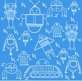 Set of cartoon robots background Stock Photos