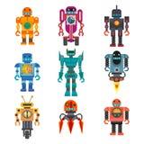 Set of cartoon robots. Royalty Free Stock Image