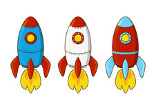 Set of cartoon rockets. Isolated on white Royalty Free Stock Images