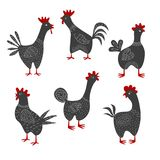 Set of cartoon roosters on the white background. vector illustration