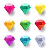 Set of cartoon round different color crystals. Gemstones, gems,diamonds vector gui assets collection for game design isolated on white background. Gui elements Stock Illustration