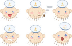 Set of cartoon sailor face emotions Stock Photos
