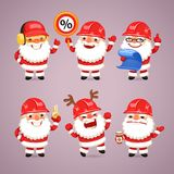 Set of Cartoon Santa Claus Builders Stock Photo