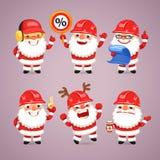 Set of Cartoon Santa Claus Builders Stock Photo