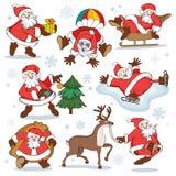 Set of cartoon Santa Claus illustrations fоr Christmas stock photography
