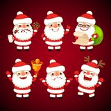 Set of Cartoon Santa Claus in Various Poses Stock Photo