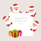 Set of Cartoon Santa Clauses Behind a White Empty Board Stock Image