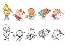 Set of cartoon school kids holding different school objects. Set of cartoon school happy kids holding different school objects royalty free illustration