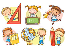 Set of cartoon school kids holding different school objects. Set of cartoon school happy kids holding different school objects Royalty Free Stock Photography