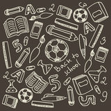 Set of cartoon school supplies. Vector set of cartoon school supplies Royalty Free Stock Photo