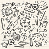 Set of cartoon school supplies Royalty Free Stock Photography