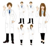 Set Cartoon Scientist People isolated on White Background. Vector Illustration. Royalty Free Stock Photo