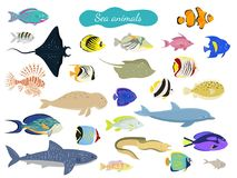 Set of cartoon sea animals on white background. stock illustration
